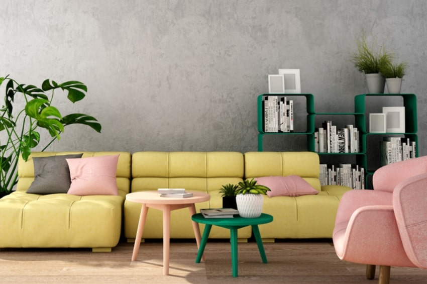 Modern living room interior with decorative accents