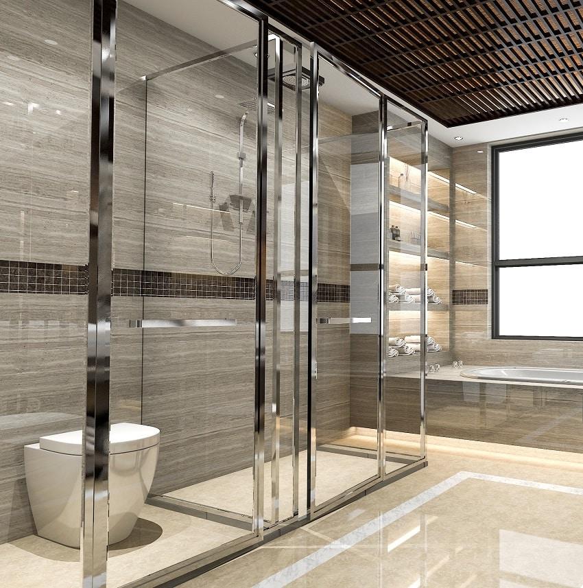 Modern loft bathroom with luxury tile decor and glass shower doors