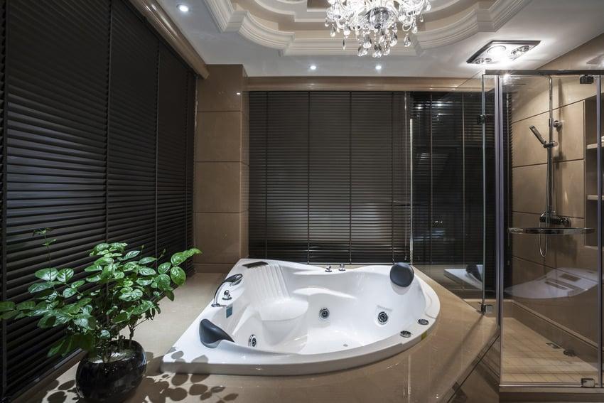 Modern luxurious bathroom with shower bathtub and blinds