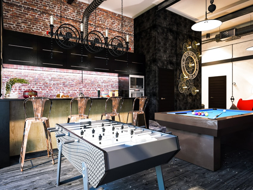 Modern man cave with bar billiards fooseball table lighting idea
