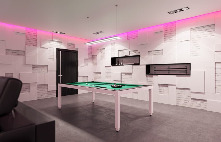 Modern man cave with wall neon light