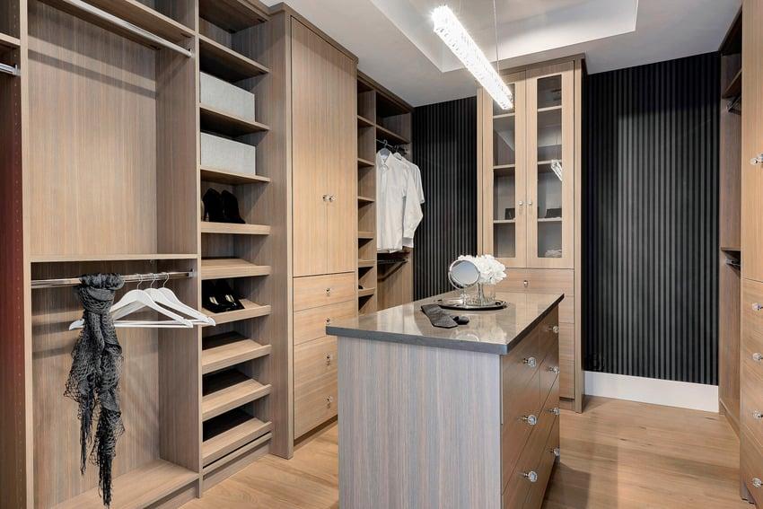 Modern men's closet with luxury furnishings