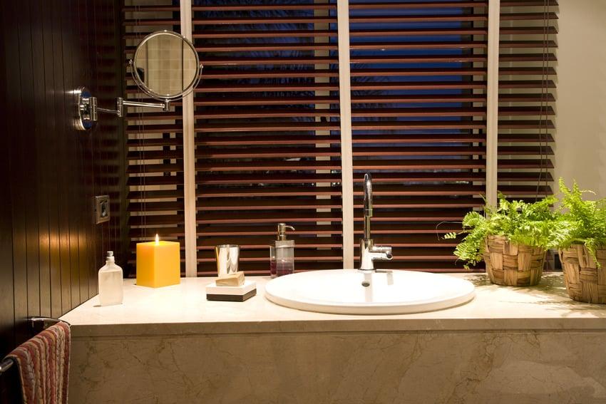 Modern porcelain sink with wooden blinds