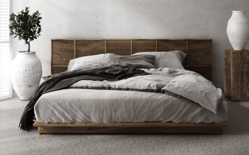 Modern rustic minimalistic style bedroom with vase plant and carpet