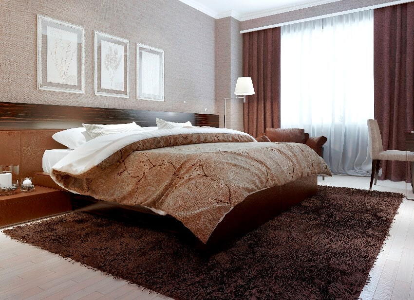 Modern style bedroom with bron color interior