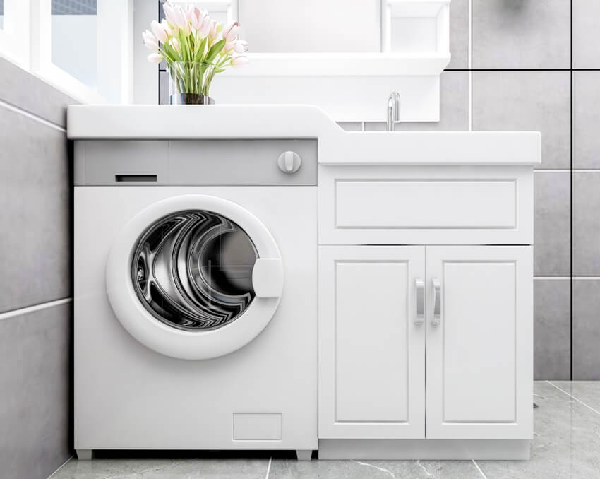 Modern style grey toilet with washing machine under the sink