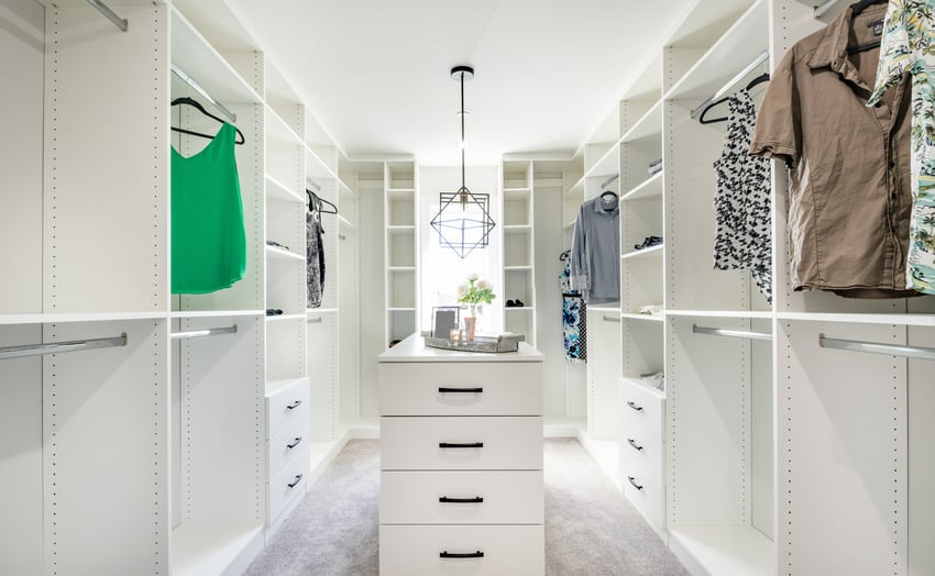 Modern white large closet with clothes