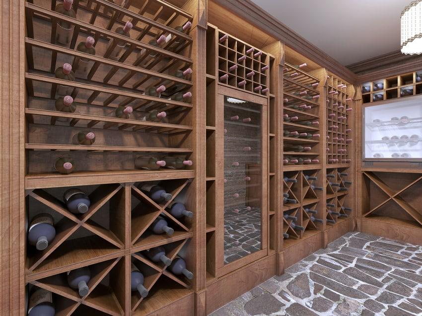 Modern wine cellar in house basement