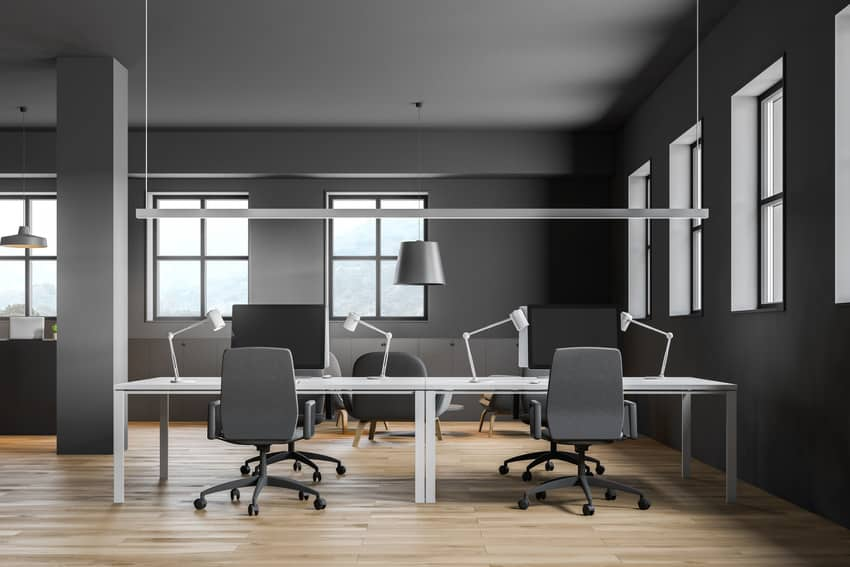 Modern workplace interior with gray wall and wooden flooring