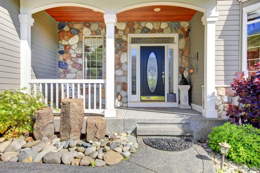 Navy color beveled glass front door house