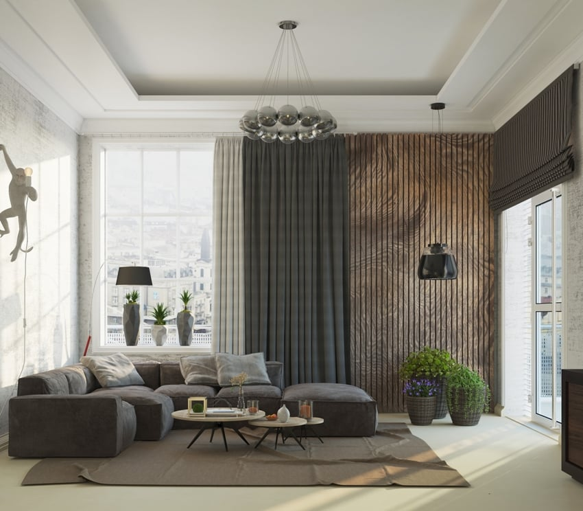 neutral color themed living room with furniture and blackout curtains