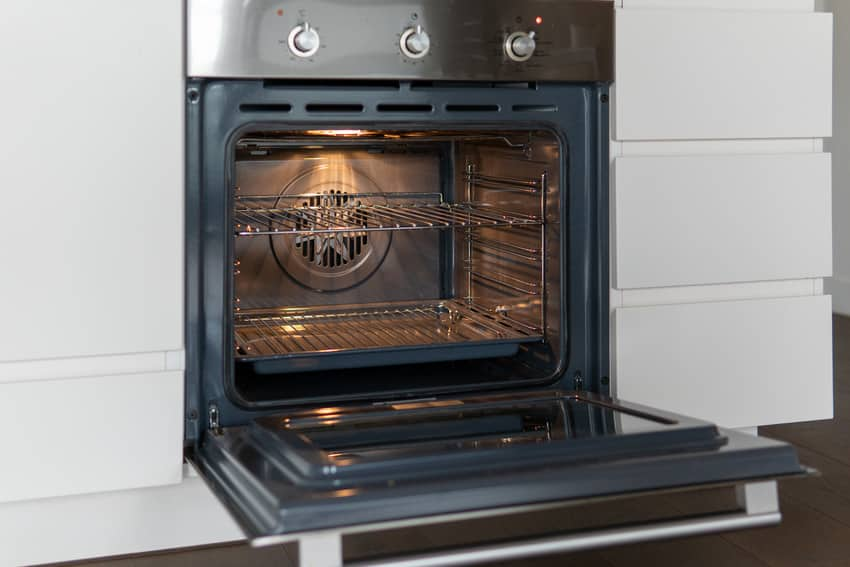 Open door modern kitchen electric oven
