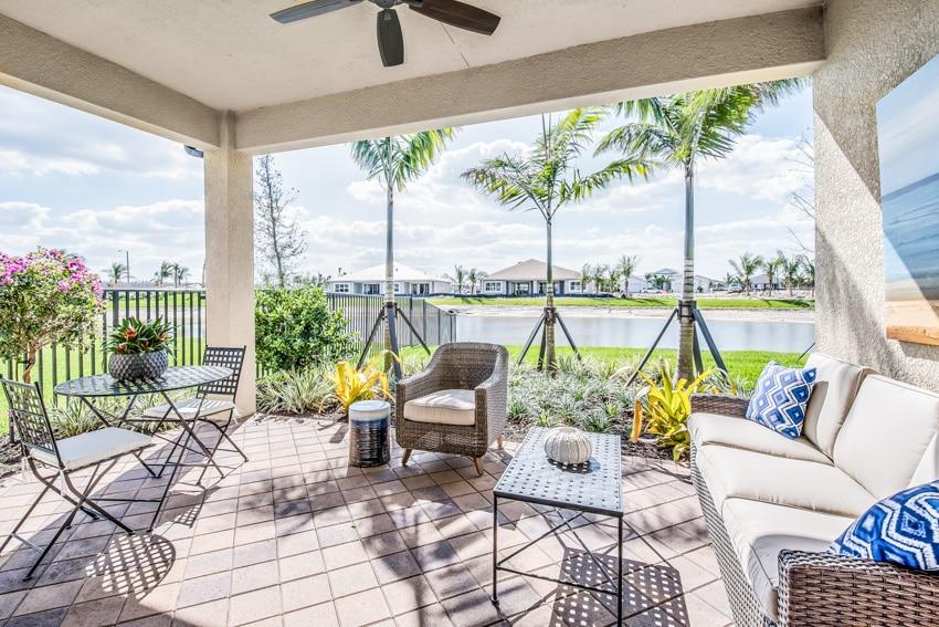 Outdoor patio furniture lawn tile floor