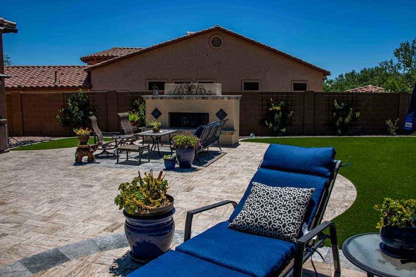 Outdoor patio with travertine tiles