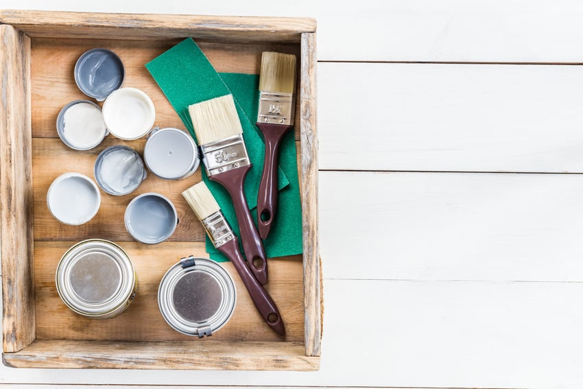 Painting materials in a wooden box