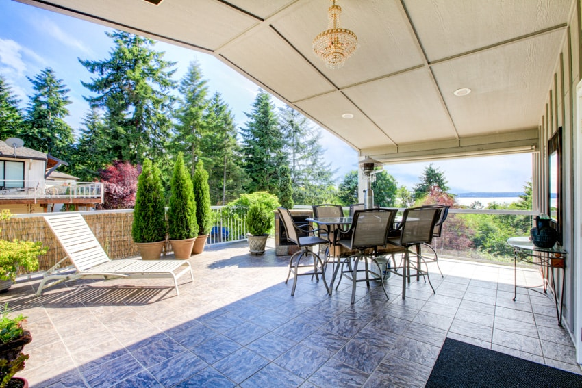 Patio with outdoor furniture and tile floor