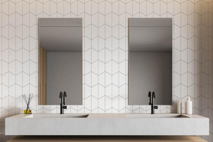 Patterned tile wall mirror concrete bathroom countertop