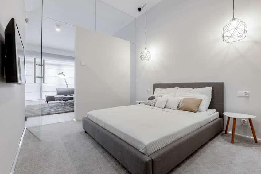 Pivot glass door bedroom