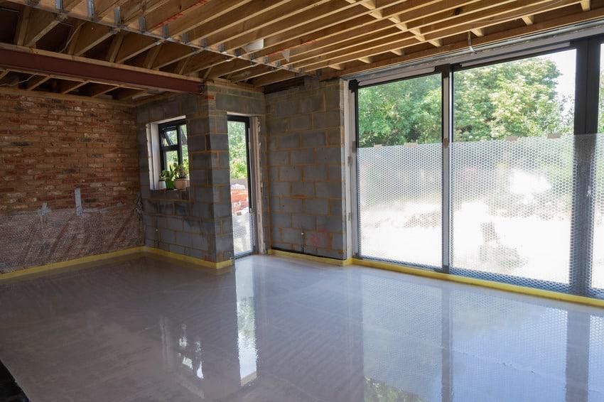 Polished concrete garage floor over underfloor heating