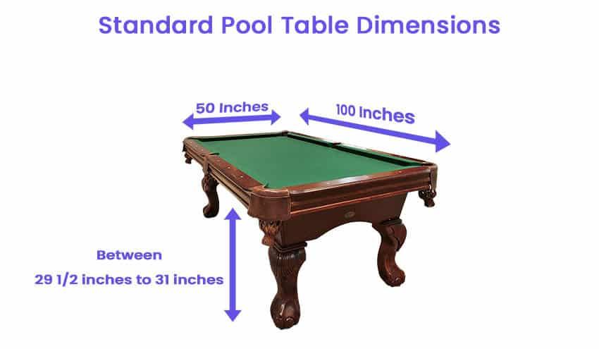 Standard pool table dimensions