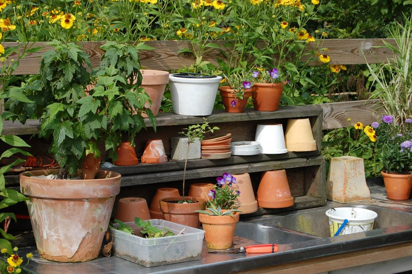 Potting bench for plants flowers greenhouse