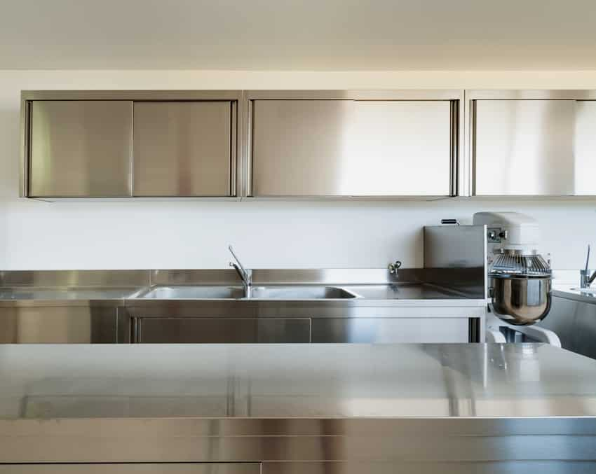 Professional kitchen interior with stainless steel cabinets