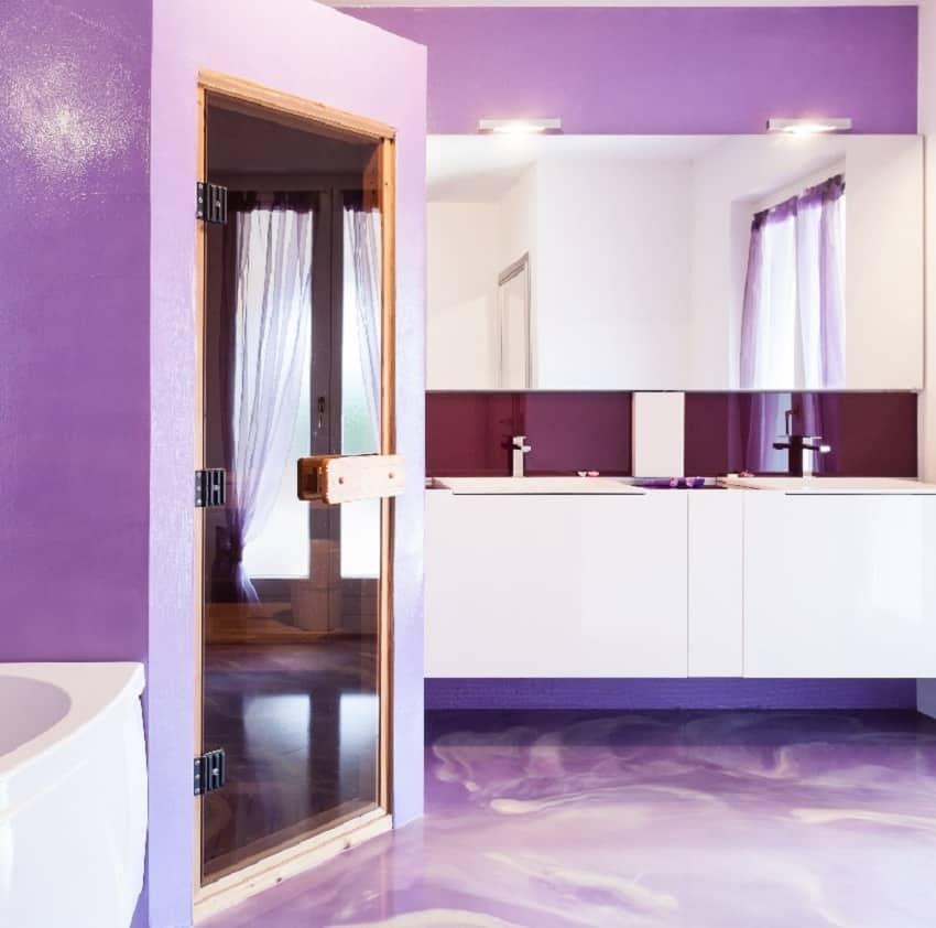 Purple bathroom interior with shower glass door