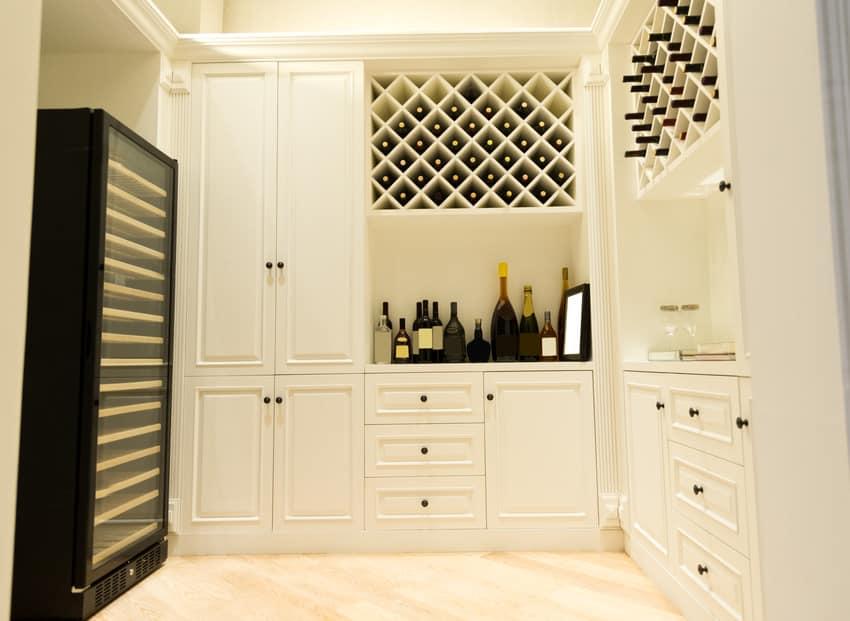 Remodeled modern wine storage room with various wine bottles on display