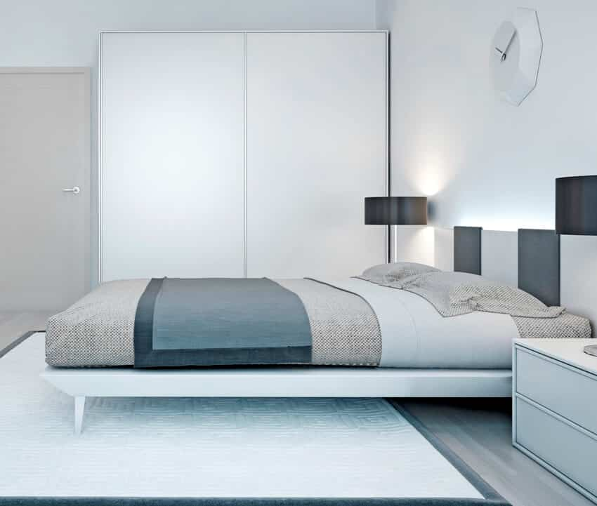 Bedroom with luxury water bed black lamp and wardrobe with sliding door