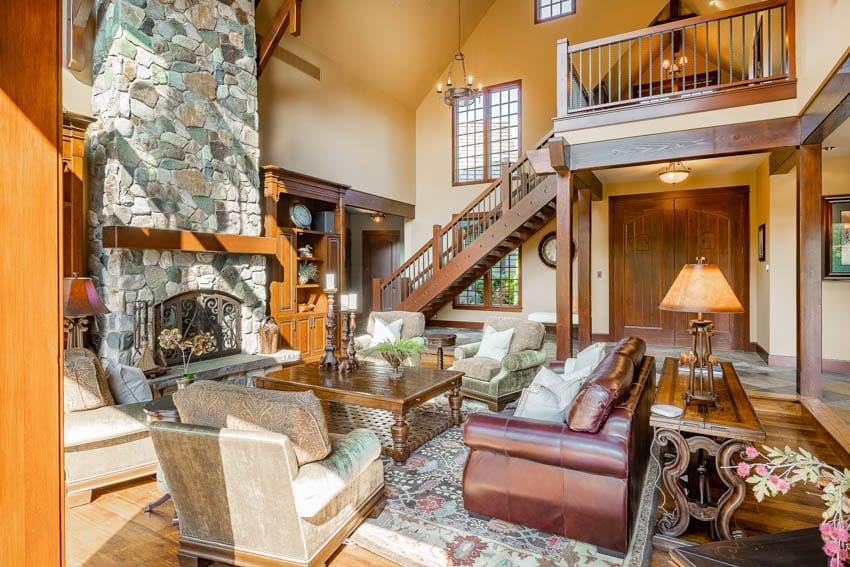 Rustic living room with dark wood trim