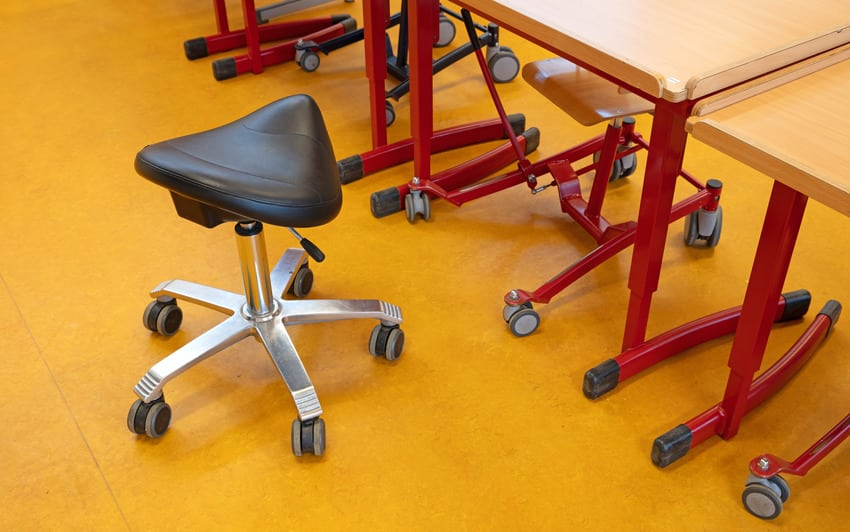 Saddle chair in a classroom for disabled children