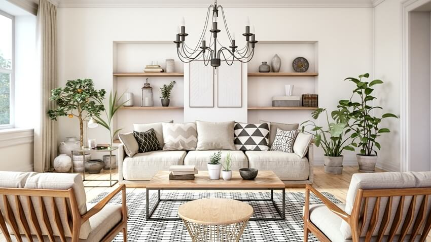 Scandinavian interior design living room with beige colored furniture black & white carpet and wooden elements