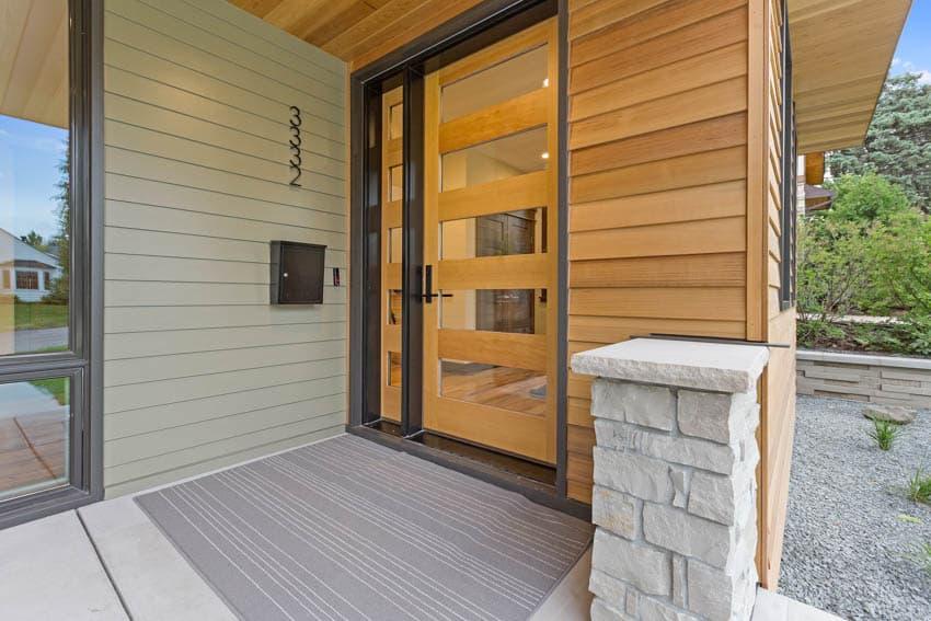 Single hinged glass and wood door