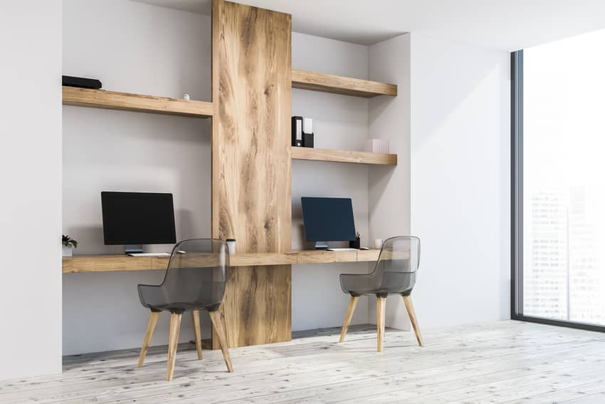 Small business workspace with contemporary stylish plastic chairs