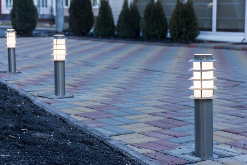 Solar lights illuminating the driveway
