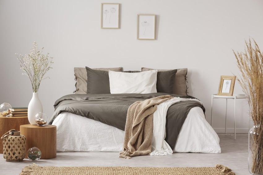 Spacious bedroom interior in neutral colors