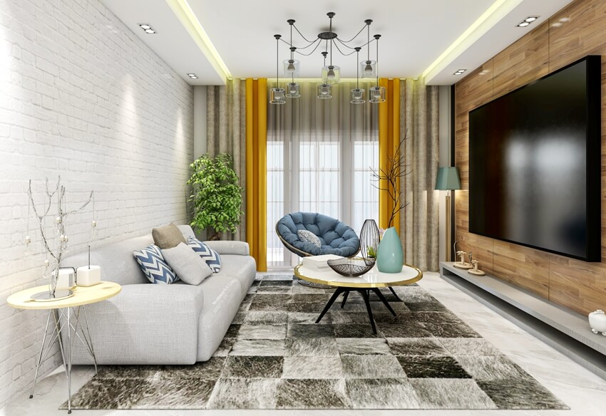 Spacious living room design of modern residence with sofa tea table decorative painting and black & gray carpet