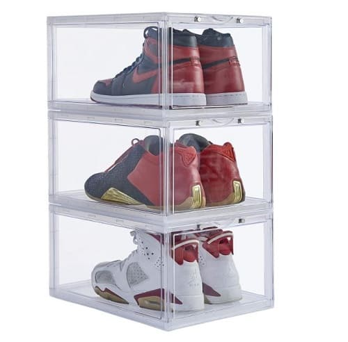 Stackable shoe organizer clear plastic 3 pack shoe boxes