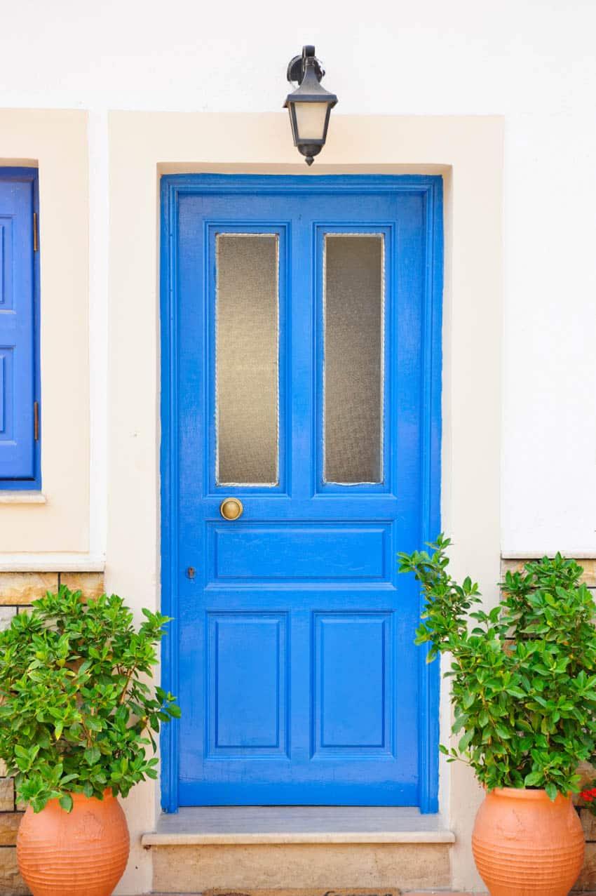 Stippolyte glass blue door plants in pots
