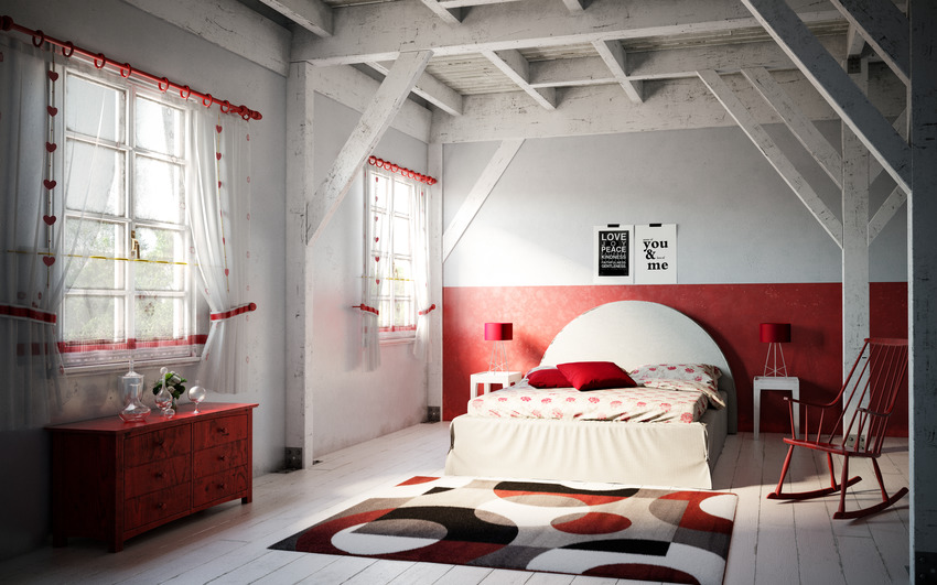 Stylish spacious bedroom interior with various red accents and rug