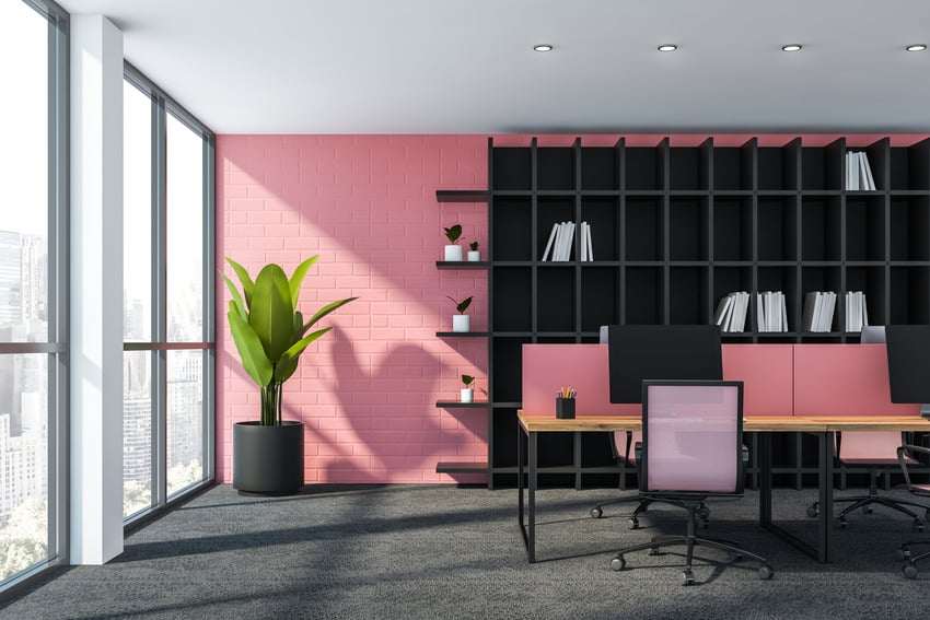 Stylish workplace interior with pink accent walls bookcase and decorative plant