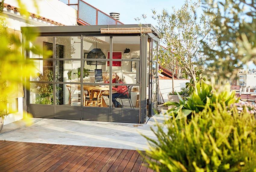 Sunroom built on wood deck