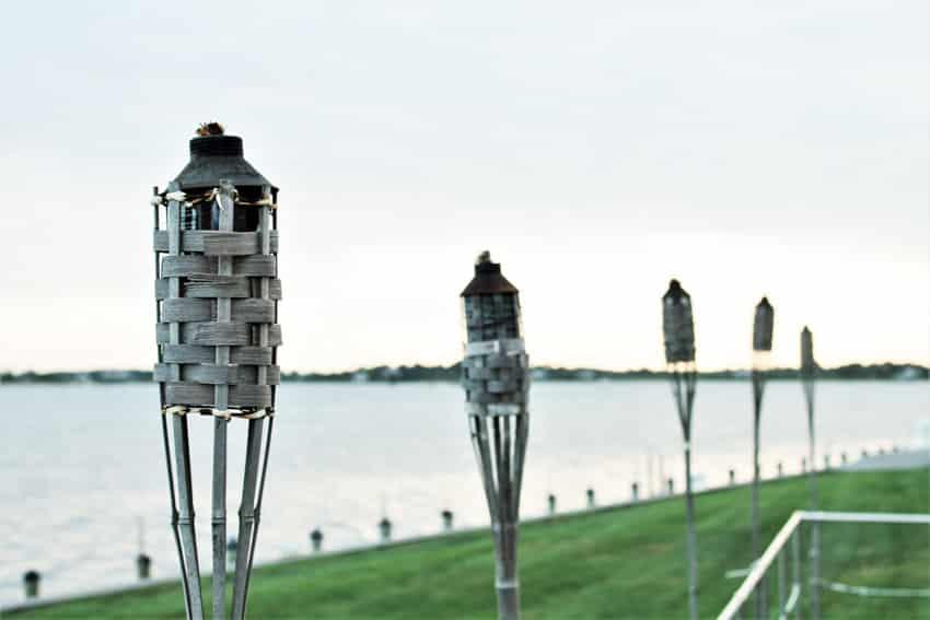 Tiki torches outdoor area
