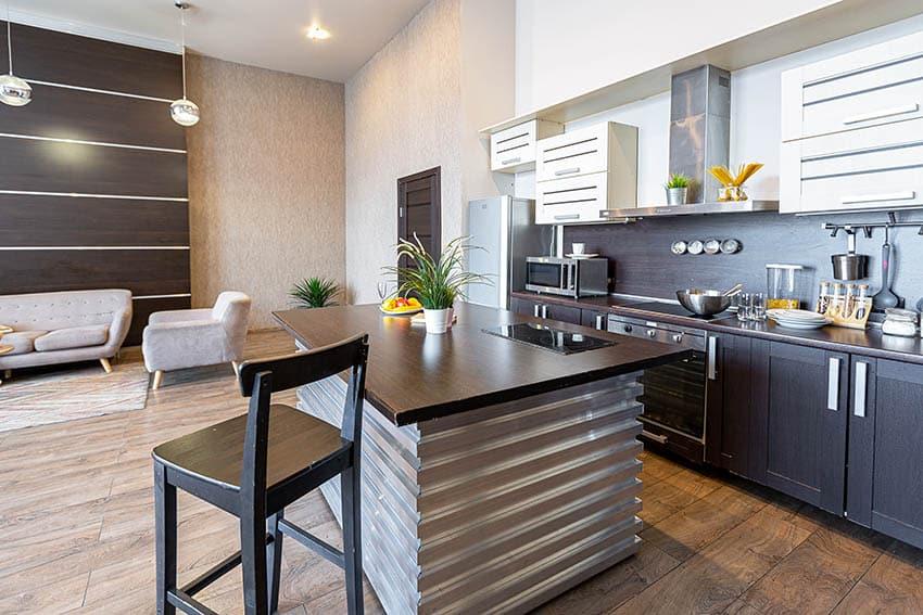 unique-corrugated-metal-kitchen-island-with-modern-stainless-steel-design