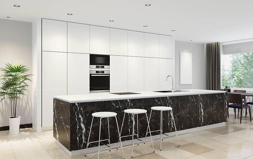 Unique kitchen island with black quartz side white quartz countertop with modern design