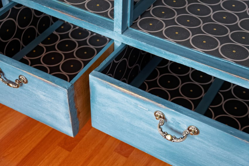 Vintage wardrobe furniture with rustic chalk paint