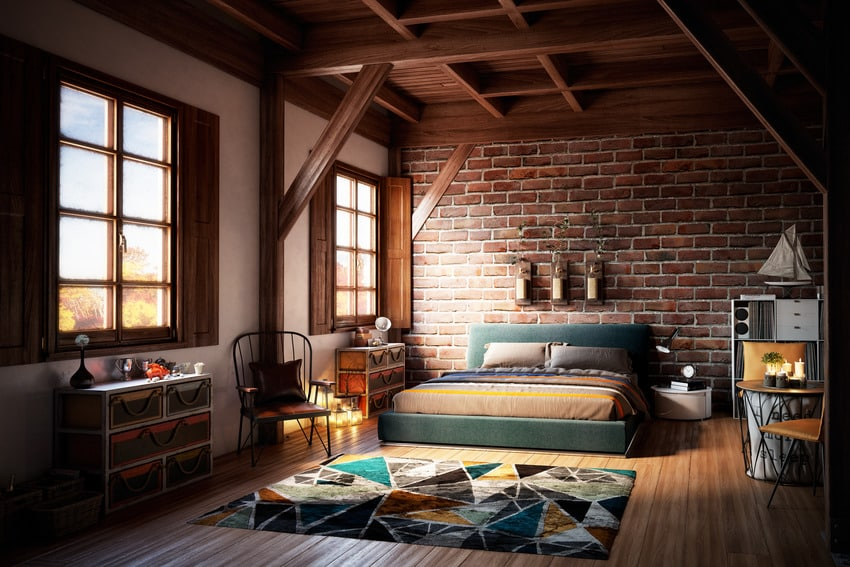 Warm and cozy bedroom interior with stylish rug and bed