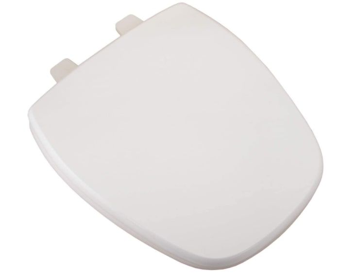 White deluxe MDF wood rounded toilet seat and plastic hinges