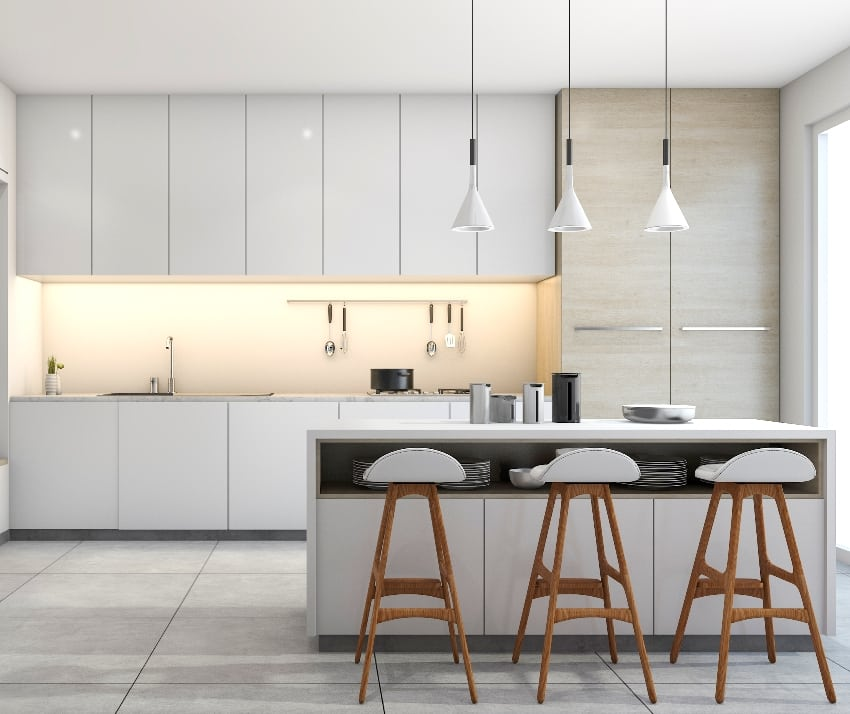 white modern design kitchen with lamp