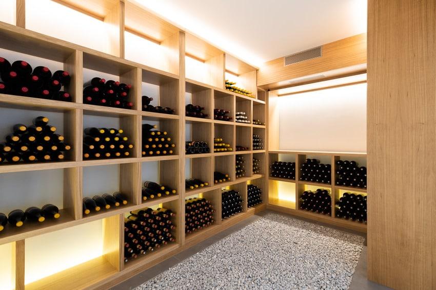 Wine bottles in a wine cellar